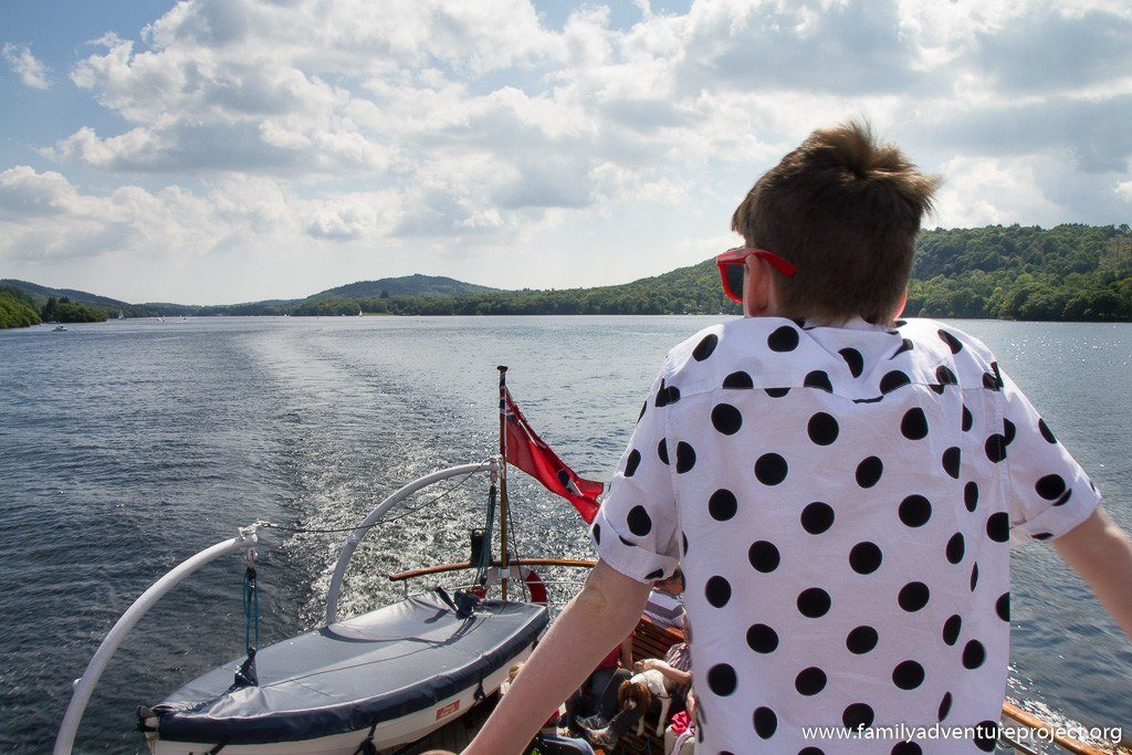 Admiring the views of Southern Windermere from rear deck as Swan cruises North towards Bowness