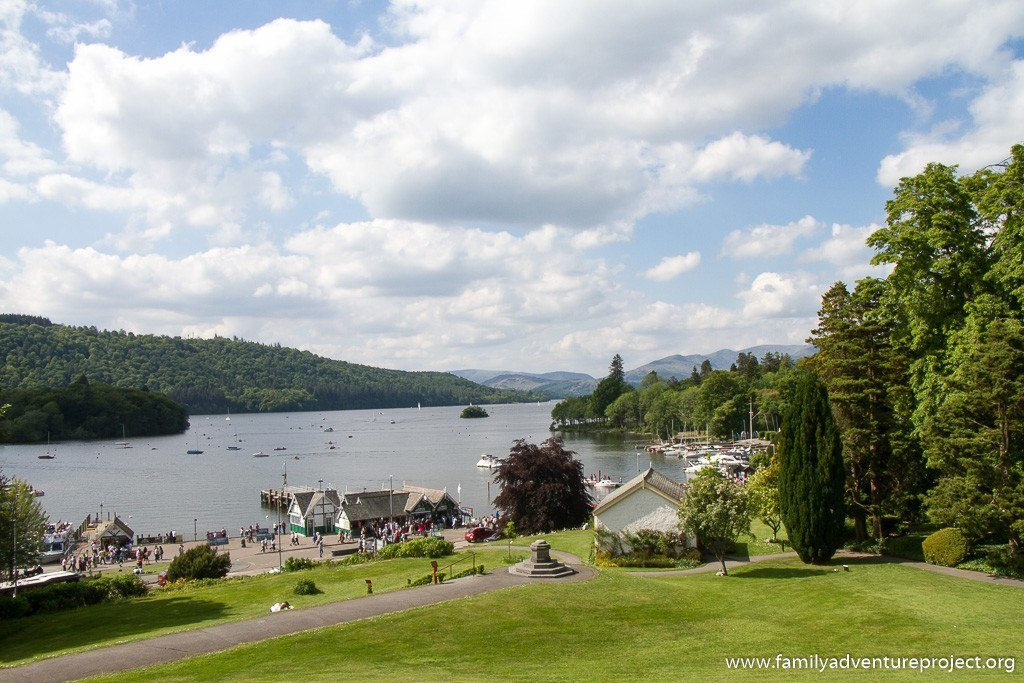 Views across Windermere from terrace of Belsfield Hotel in Bowness