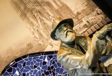 Gaudi in Barcelona. Statue in Gaudi Experience
