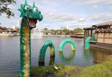 Lego dragon at Disney Springs. Image by Ella Buchan