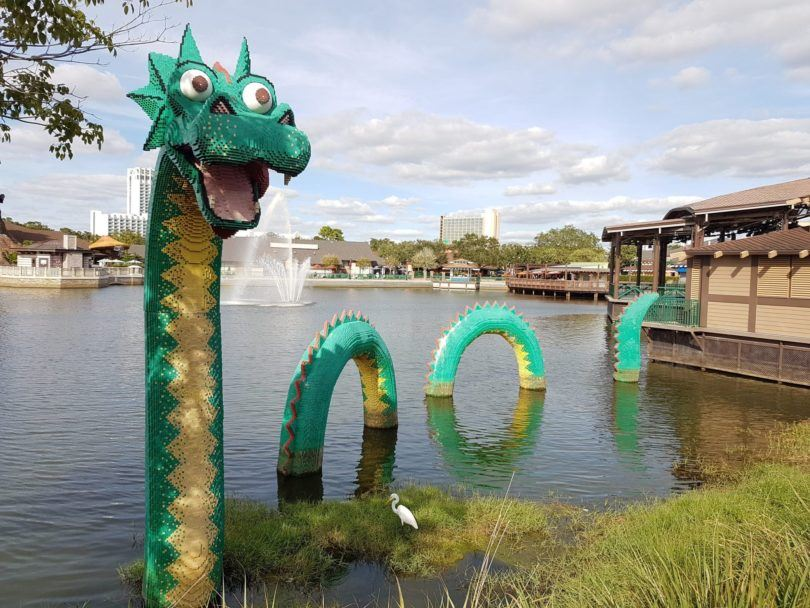 Lego dragon at Disney Springs. Image by Ella Buchan