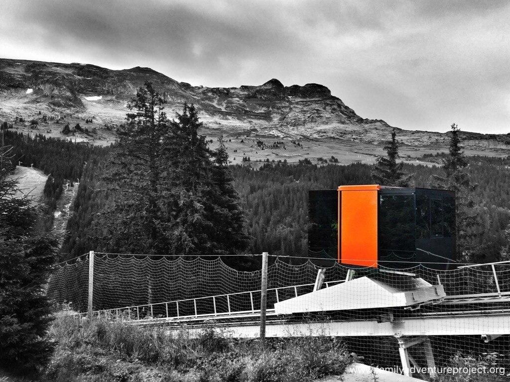 The orange lift in Flaine